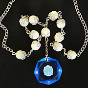 Beautiful Vintage Sterling Silver a nd Mother of Pearl  Bead Religious Necklace