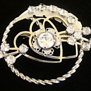SALE Vintage Silver Tone pin brooch Round  with clear rhinestones