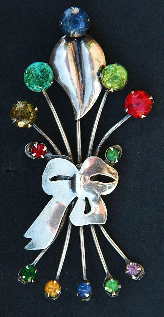 Large Vintage Sterling Silver and Rhinestone Spray Brooch