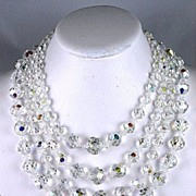 SOLD Reserved for Penny--Gleaming Three Strand Crystal Necklace