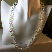 SOLD Vintage Crystal Bead Shimmering Single Strand Necklace