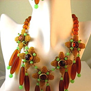 REDUCED Reduced Jaw Dropping Stanley Hagler Necklace and Earring Set Demi Parure
