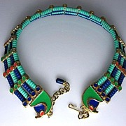 SOLD Hattie Carnegie Falcon Head Egyptian Revival Collar Necklace