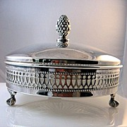 SOLD Sheffield Silver Lidded Serving Bowl