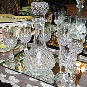 SOLD Large Cut Glass Crystal Decanter with Matching Crystal Stemware