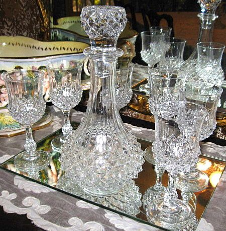Large Cut Glass Crystal Decanter with Matching Crystal Stemware