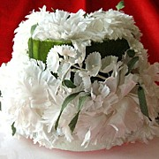 SALE Vintage White Flower Hat with Green Ribbons