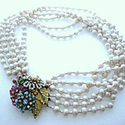 SOLD Miriam Haskell Six Strand Bead Necklace with Fancy Rhinestone Clasp