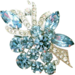 Light Blue Eisenberg Ice Rhinestone & Pave Ribbon Brooch