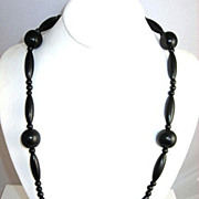 SOLD Victorian Jet Mourning Necklace Circa 1920's