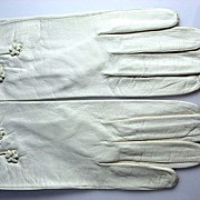 SOLD Vintage White Kid Leather Gloves