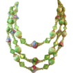 Closeout Price-Vendome Three Strand Lime Green Peacock Glass Bead Necklace