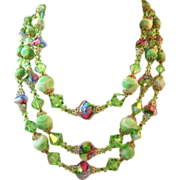SALE Closeout Price-Vendome Three Strand Lime Green Peacock Glass Bead Necklace
