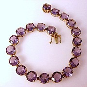 SOLD Estate Piece 14 Karat Gold Amethyst Tennis Bracelet~40 Carats of Amethyst