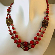 SOLD On Hold for Trish-Fabulous Early 1900's Czech Red Glass Double Strand Filigree Necklace