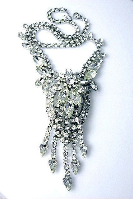 Magnificent Dazzling Rhinestone Waterfall Necklace~Possible Schreiner