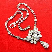 Weiss Art Deco Style Rhinestone Necklace with Rhinestone Drop