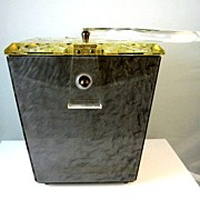SALE Gray Marbled1950's  Lucite Purse with Carved Lucite Lid and Handle