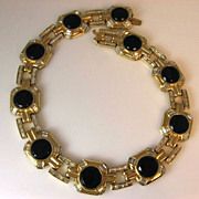 SALE Ciner Gold Tone Black and Baguette Collar Necklace Circa 1950's