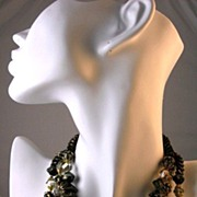 SOLD Sensational Vendome Three Strand Black and Gold Bead Necklace
