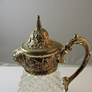 SALE Crystal Syrup Pitcher with Silver Plated Face Spout