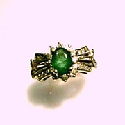 SOLD Gorgeous Emerald and Diamond 14K Yellow Gold Ladies Ring