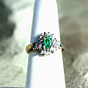 SALE Reduced Estate .78ct Emerald and Diamond 14K Yellow Gold Ladies Ring