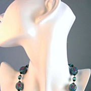 SOLD Awesome 1930's-1950's Hand Painted Periwinkle Blue and Pink Rose Venetian Glass Necklace