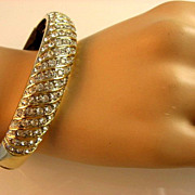 Gold Tone Rhinestone Bangle Bracelet