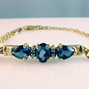 SOLD 3 ct. London Blue Topaz and Diamond 14K Gold Bracelet