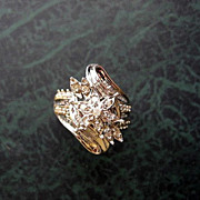 SOLD Estate .50ct Diamond Art Nouveau Style Gold Cocktail Ring