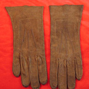 Brown Suede Ladies Gloves