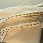 Fabulous White Cotton Gloves with Sparkling Rhinestones