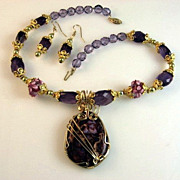 SALE Purple Ocean Jasper Pendant Necklace & Earring Set