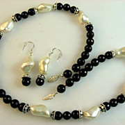 SALE Black Onyx & White Shell Bead Necklace & Earring Set