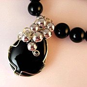 SALE Black Onyx Wire Wrapped Pendant Necklace Set