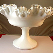 Fenton Ruffled Silver Crest Pedestal Bowl