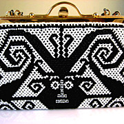 SOLD Vintage Black and White Aztec Design Beaded Evening Purse