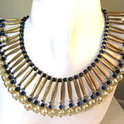 SOLD Egyptian Influence Trifari Beaded Fringe Collar Necklace
