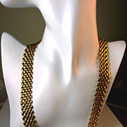 SOLD Napier Gold Mesh Link Necklace Circa 1940's-50's