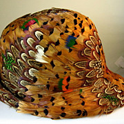 SOLD Magnificent Vintage Don Anderson New York Pheasant Feathered Hat