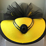 Dramatic Yellow and Black Straw Hat with Black Netting