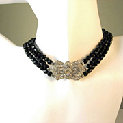 Art Deco Black Bead  Choker Necklace