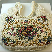 SALE Reduced Petit Point Tapestry Beaded Purse Handbag