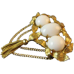 DeNicola Tasseled Brooch with Swags Leaves and Cabochons