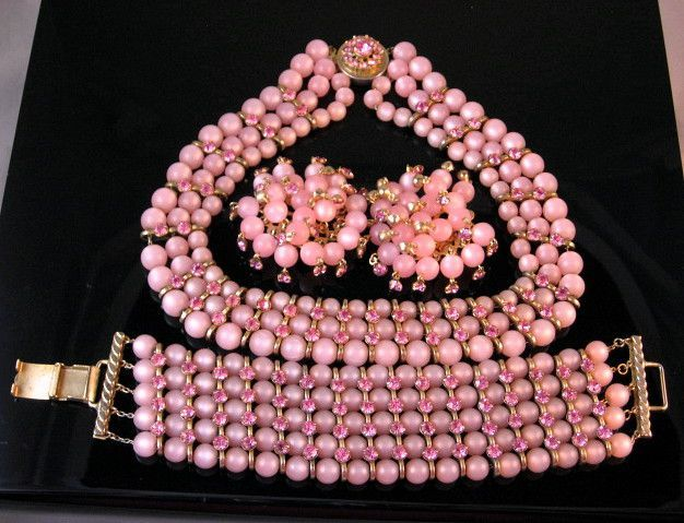 Closeout Price-Pink Moon-glow Glass Bead and Rhinestone Parure