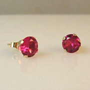 SOLD Ruby and 14K Yellow Gold Stud Earrings