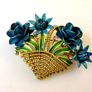 Trifari Enamel Basket of Flower Pin Circa 1940's