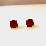 SOLD Reduced Estate 1.50ct Ruby and 14K Yellow Gold Stud Earrings