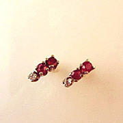 SALE .36ctw Genuine Ruby & Diamond Gemstone 14K White Gold  Earrings